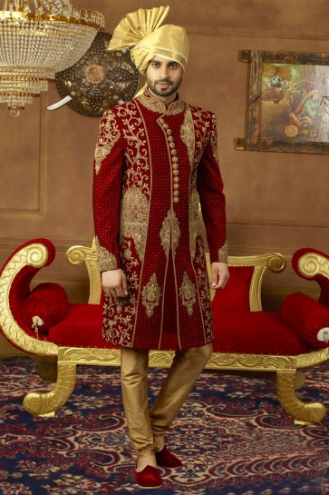 Maroon Velvet Embroidered Wedding Sherwani