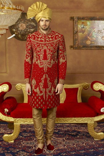 Red Velvet Designer Embroidered Sherwani