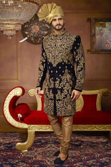 Supreme Navy Blue Velvet Embroidered Sherwani