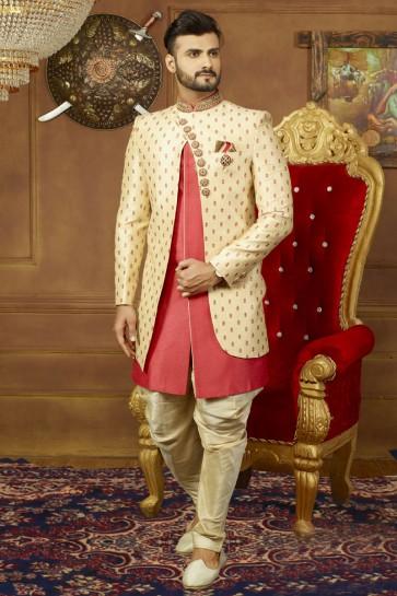 Beige and Pink Banarasi Silk Function Wear Designer Sherwani