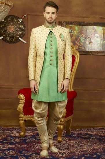 Beige and Green Banarasi Silk Embroidered Sherwani