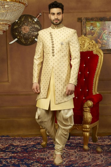 Ultimate Beige Banarasi Silk Embroidered Sherwani