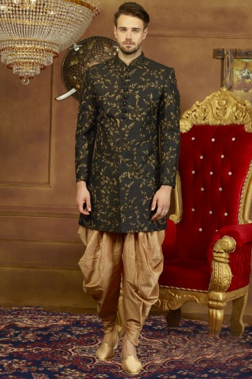 Black Banarasi Silk Designer Embroidered Wedding Sherwani