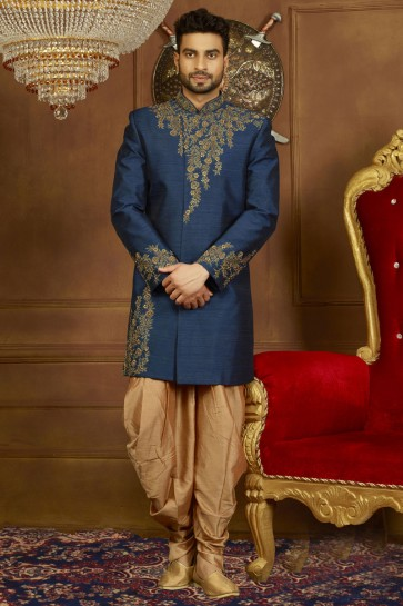 Navy Blue Banarasi Silk Embroidered Sherwani