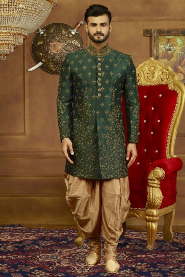 Marvelous Green Banarasi Silk Embroidered Designer Sherwani