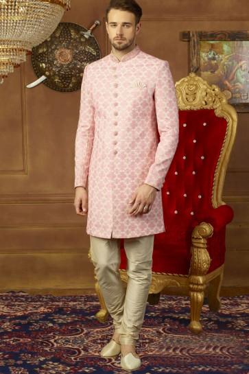 Charming Pink Banarasi Silk Banarasi Silk Embroidered Sherwani