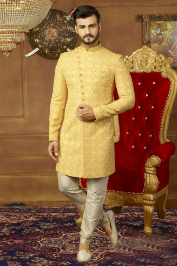Yellow Banarasi Silk Embroidered Wedding Sherwani