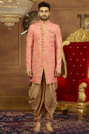 Gorgeous Pink Banarasi Silk Embroidered Sherwani