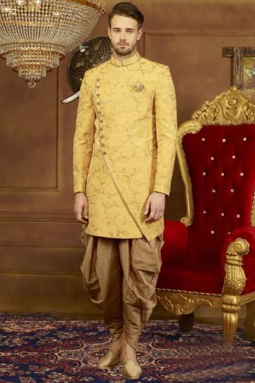 Embroidered Yellow Banarasi Silk Designer Sherwani
