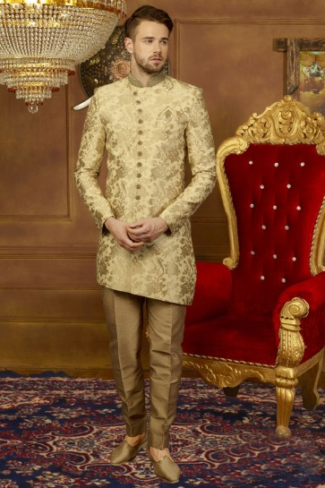 Embroidered Golden Silk Desirable Sherwani