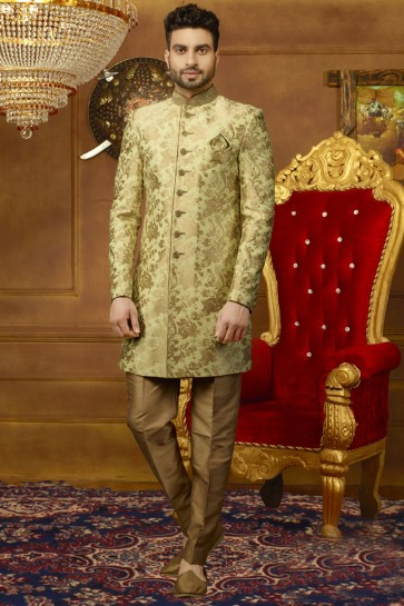 Green Silk Embroidered Designer Sherwani