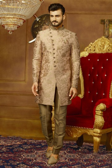 Brown Silk Designer Embroidered Sherwani