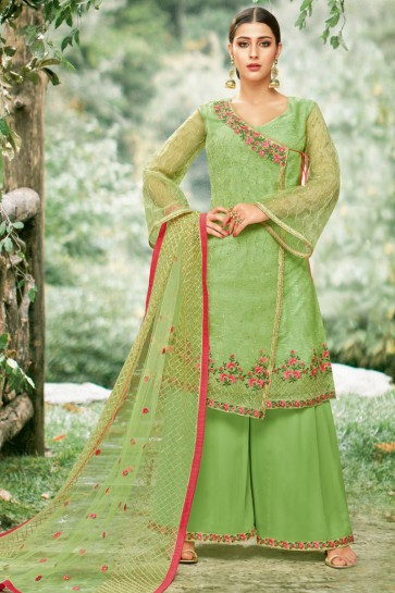 Charming Green Net Embroidered Plazo Salwar Suit