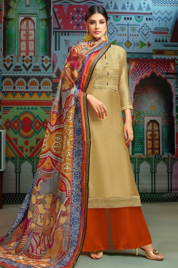 Beautiful Golden Cotton Embroidered Designer Plazo Salwar Suit With Chanderi Dupatta