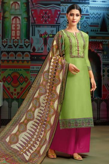 Green Cotton Embroidered Designer Plazo Salwar Suit With Chanderi Dupatta