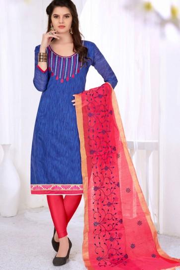 Pretty Blue Cotton Casual Salwar Suit With Silk Dupatta