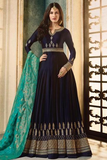 Navy Blue Georgette Embroidered Anarkali Salwar Suit With Viscose Dupatta