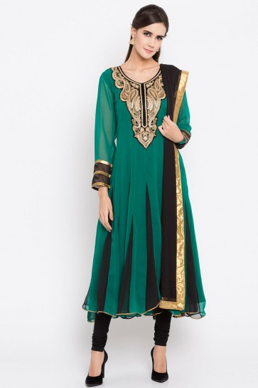 Green Faux Georgette Plus Size Readymade Punjabi Salwar Suit With Faux Chiffon Dupatta