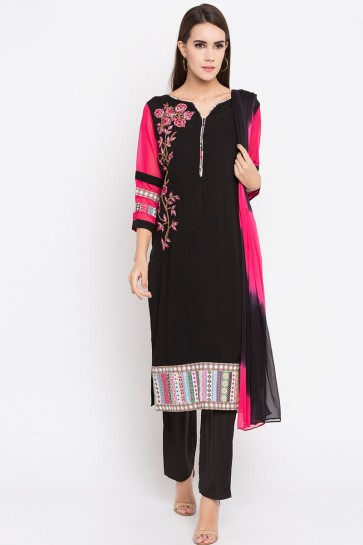 Black Cotton Plus Size Readymade Punjabi Salwar Suit With Faux Chiffon Dupatta