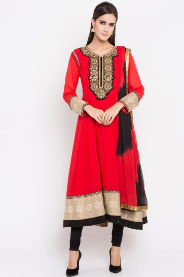 Beautiful Red Faux Georgette Party Wear Plus Size Readymade Punjabi Salwar Suit With Faux Chiffon Dupatta