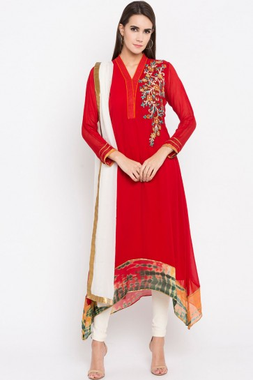 Red Faux Georgette Plus Size Readymade Punjabi Salwar Suit With Faux Chiffon Dupatta