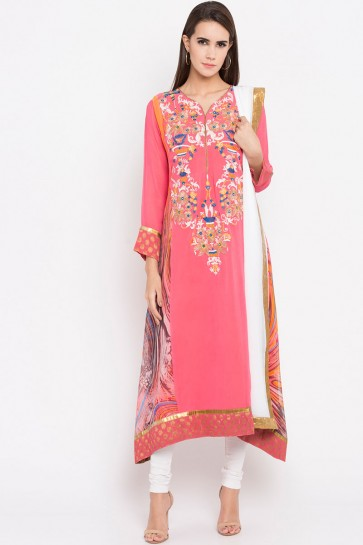 Classic Pink Faux Georgette Plus Size Readymade Punjabi Salwar Suit With Faux Chiffon Dupatta
