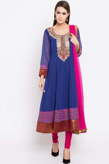 Blue Faux Georgette Plus Size Readymade Punjabi Salwar Suit With Faux Chiffon Dupatta