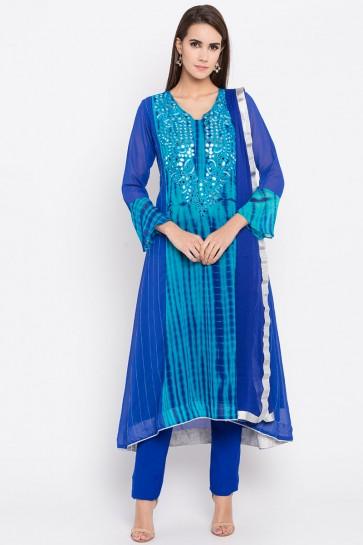 Admirable Blue Faux Georgette Plus Size Readymade Punjabi Salwar Suit With Faux Chiffon Dupatta