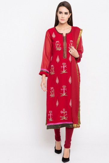 Charming Red Faux Georgette Plus Size Readymade Punjabi Salwar Suit With Faux Chiffon Dupatta