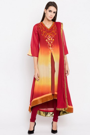 Graceful Red Faux Georgette Plus Size Readymade Punjabi Salwar Suit With Faux Chiffon Dupatta