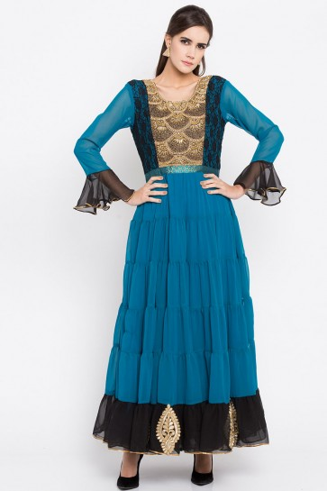 Excellent Blue Faux Georgette Plus Size Readymade Punjabi Salwar Suit With Faux Chiffon Dupatta