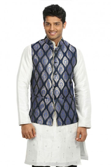 Lovely Blue and White Art Silk Kurta Pajama With Jacket