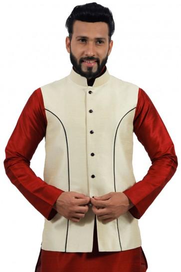 Beautiful Red and Cream Art Silk Kurta Pajama With Jacket