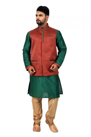 Graceful Green and Red Art Silk Kurta Pajama With Jacket