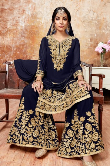 Supreme Navy Blue Faux Georgette Embroidered Designer Palazzo Salwar Suit With Chiffon Dupatta