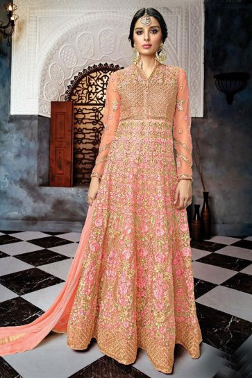 Embroidered Peach Net Anarkali Salwar Suit With Chiffon Dupatta