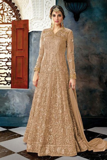 Brown Net Embroidered Anarkali Salwar Suit With Chiffon Dupatta