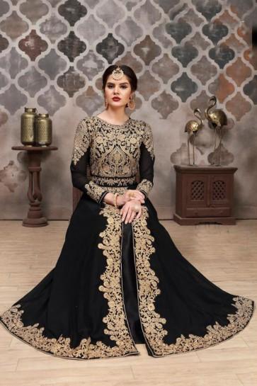 Ultimate Black Georgette Embroidered Anarkali Salwar Suit With Nazmin Dupatta