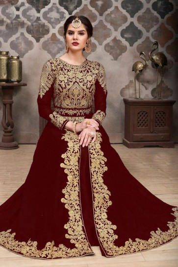 Maroon Georgette Embroidered Designer Anarkali Salwar Suit With Nazmin Dupatta