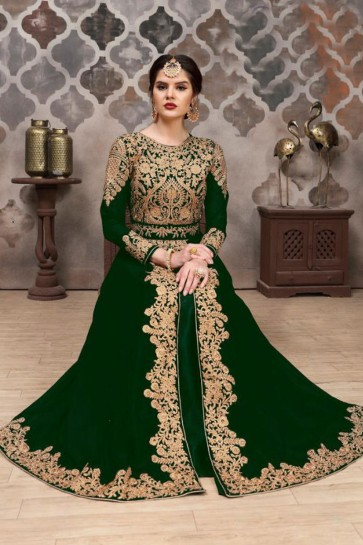 Embroidered Green Georgette Anarkali Salwar Suit With Nazmin Dupatta