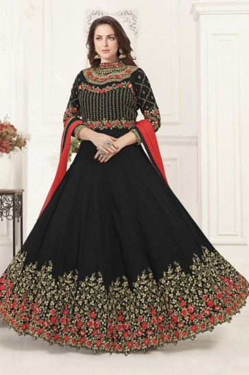 Supreme Black Georgette Embroidered Anarkali Salwar Suit With Chiffon Dupatta
