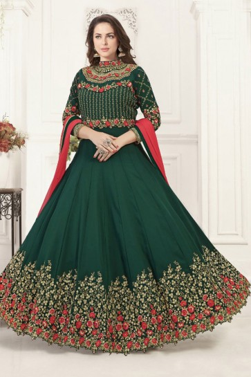 Green Georgette Embroidered Anarkali Salwar Suit With Chiffon Dupatta