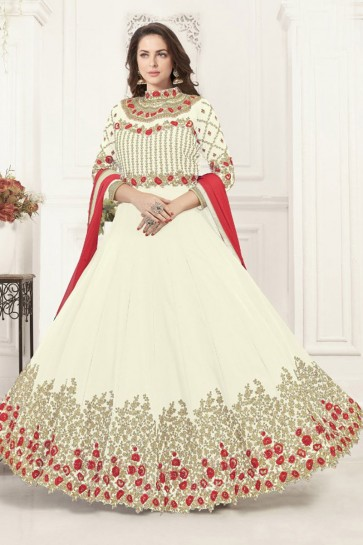 Embroidered Off White Georgette Anarkali Salwar Suit With Chiffon Dupatta