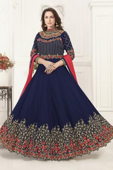 Navy Blue Georgette Embroidered Anarkali Salwar Suit With Chiffon Dupatta