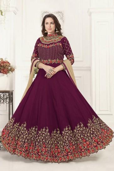 Purple Georgette Embroidered Anarkali Salwar Suit With Chiffon Dupatta