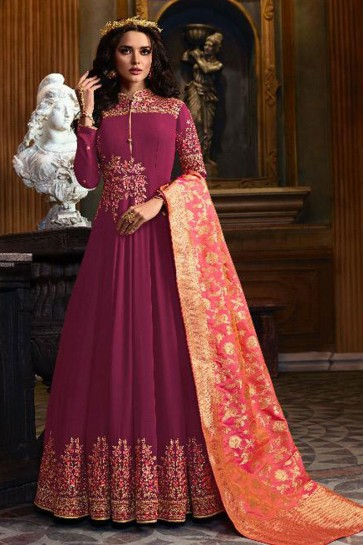 Purple Faux Georgette Embroidered Anarkali Salwar Suit With Banarasi Silk Dupatta