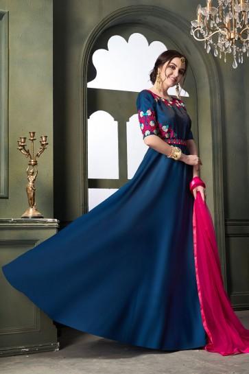 Embroidered Blue Satin and Silk Designer Anarkali Salwar Suit With Net Dupatta