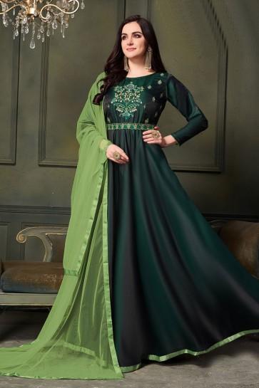 Green Satin and Silk Embroidered Designer Anarkali Salwar Suit With Net Dupatta