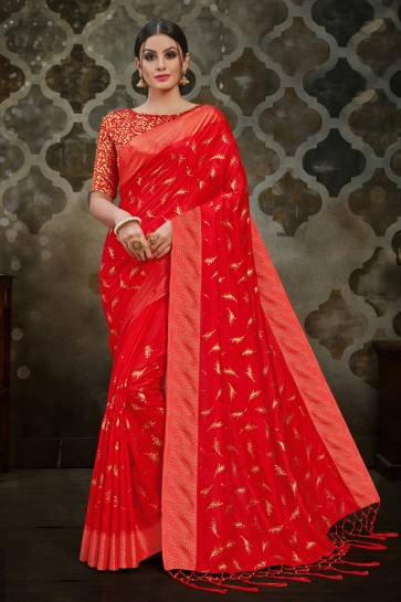 Graceful Red Silk Lace Work Saree With Silk Blouse