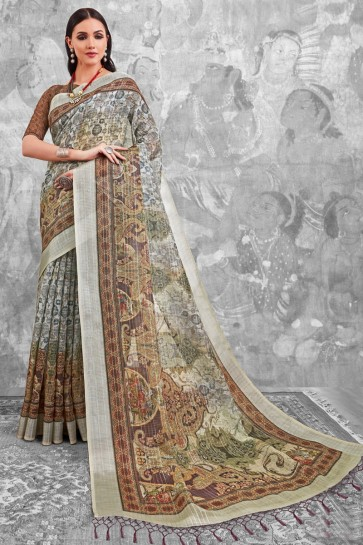 Admirable Brown Digital Printed Linen Cotton Saree With Linen Cotton Blouse